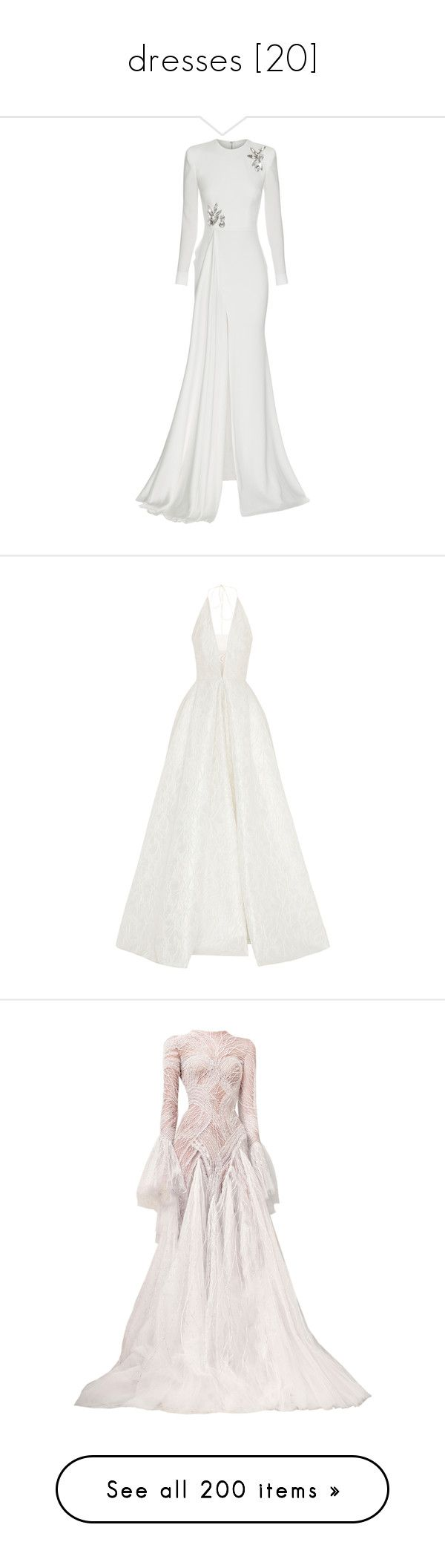 """dresses [20]"" by caramara3 ❤ liked on Polyvore featuring dresses, gowns, vestido, white, white evening gowns, white ball gowns, satin dress, long sleeve evening dresses, long sleeve ball gowns and white halter dress"