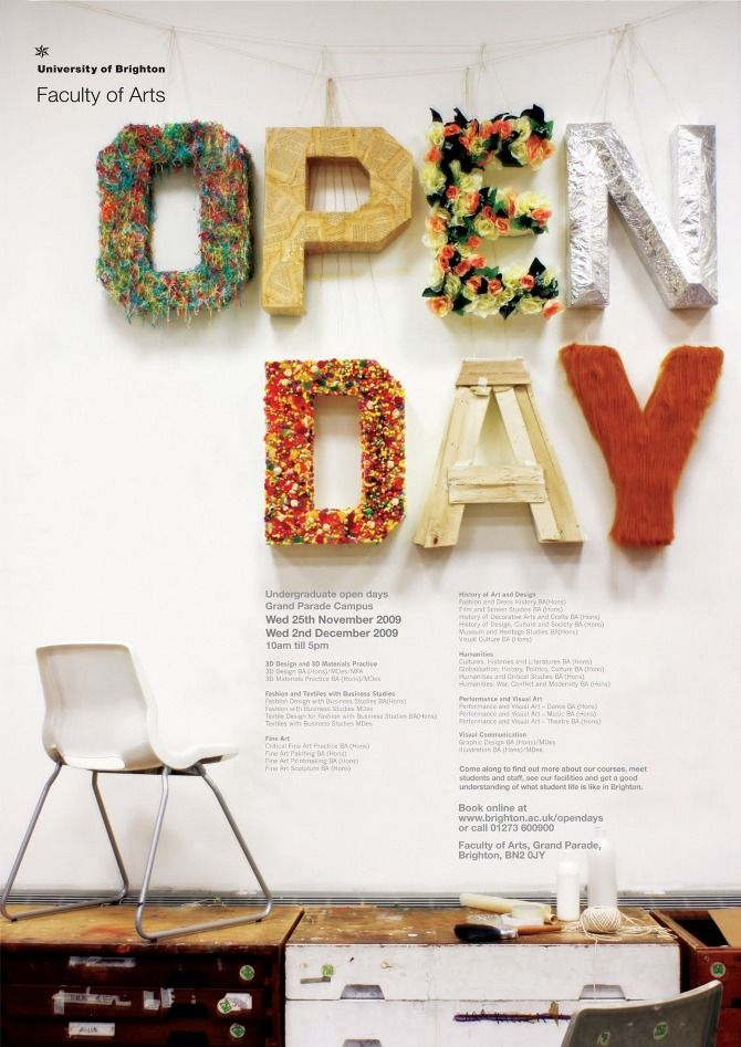Anieszka Banks – Open Day poster for the University of Brighton, Faculty of Arts