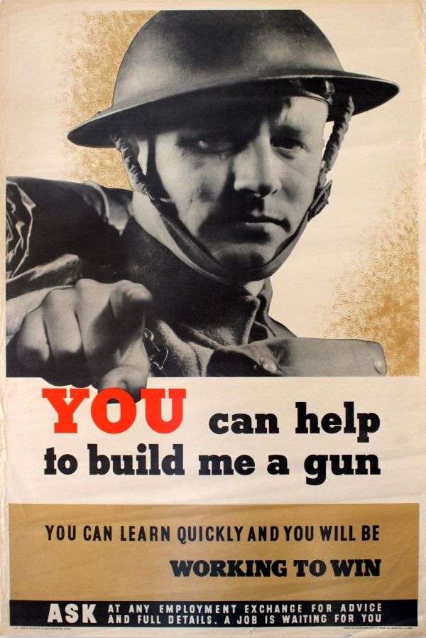 "UK WW II..Help Build Me a Gun WWII £250.00 Original vintage World War Two poster: ""You can help to build me a gun - You can learn quickly and you will be working to win - Ask at any employment exchange for advice and full details - A job is waiting for you."" Black and white photo of a British soldier in uniform and wearing his helmet pointing out to the viewer with the text below. Printed by J Weiner Ltd, 71/5 New Oxford Street, London WC1 for Her Majesty's Stationery Office and the…"