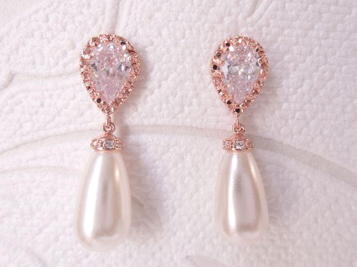 Blush Rose Gold Bridal Pearl Drop Earrings for 1920s Wedding Classic Bridesmaid Gift Rosegold Victorian Prom Jewelry by dalfiya on Etsy