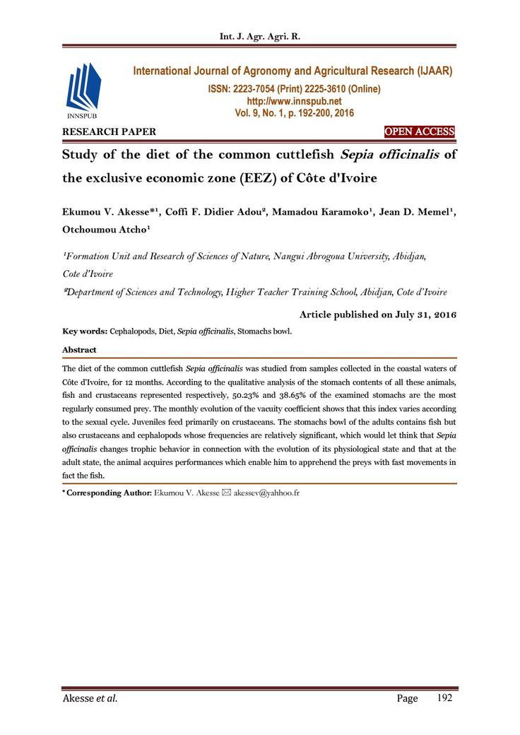 Study of the diet of the common cuttlefish Sepia officinalis of the exclusive economic zone (EEZ) of