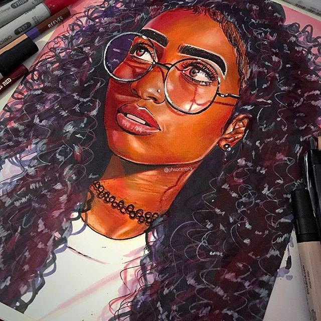 Finished the drawing of @anjeez As usual, materials used were: Prismacolor pencils, blick markers, white paint marker, micron pens, ballpoint pens, drafting pencil, Copic markers, prismacolor blending markers Edit: OH MY GODDDDD I FORGOT TO DO THE TEETH