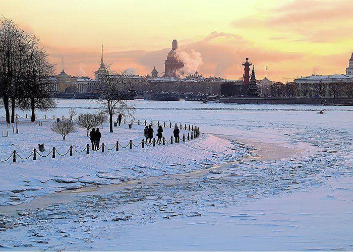 Evening walk by Mary Raven #MaryRaven #city #winter #river #snow  #ArtForHome #FainArtPrints