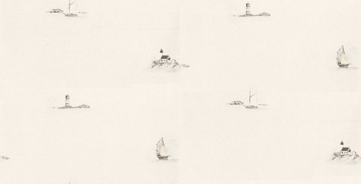 Fregate (FRG1994 9127) - Casadeco Wallpapers - A painted motif of boats and lighthouses on a fresh cream background. A coordinating border is available. Please request a sample for true colour match.