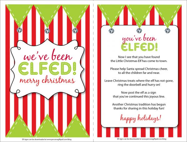 Fun neighborhood idea...: Youve Been Booed Gift Ideas, Christmas Time, Holiday Ideas, Elfed Graphics, Fun, Youve Been Elfed Ideas, Free Printables