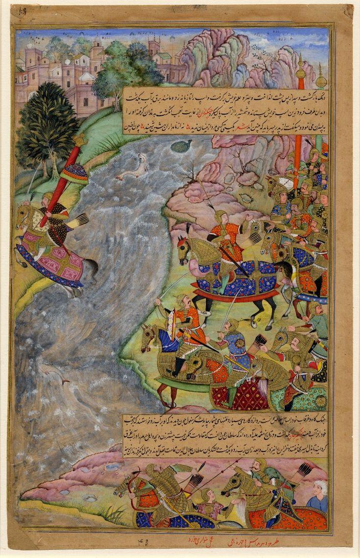 ca. 1600 Mughal miniature painting. Jalál al-Dín Xwárazm-Sháh crossing the Indus river escaping Chinggiz Xán (Ghengis Khan). From the epic Chinggizxánnáma. Painted in gouache on paper. Inscribed. artist (s) Banwarí Khúrd; Dharm Dás