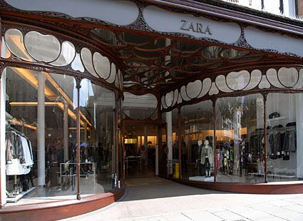 Art Nouveau design. The Zara storefront in Nottinghamshire, England.