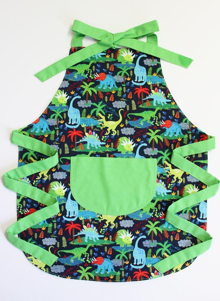 Dinosaur Kids Apron, Toddler Apron, Childrens Aprons, Aprons For Kids, Cute Kids Aprons, Kids Cooking Gift by LittleFoxSewsLots on Etsy