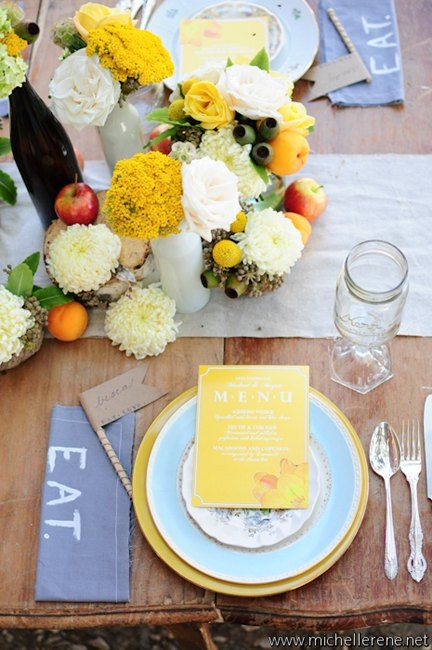Gorgeous arrangement of yellow and white blooms with fruit! | Photo by http://michellerene.net Floral design by http://egfloraldesign.com
