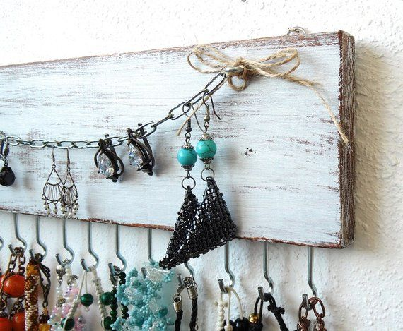 Jewelry organizer wall necklace holder white jewelry storage wall jewelry holder Rustic wall decor f