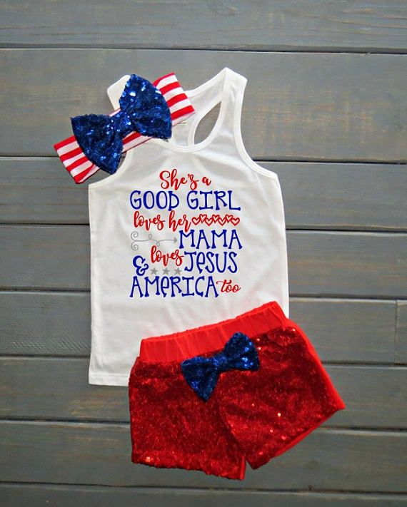 Good Girl Loves Her Mama Outfit Girls' Fourth of July