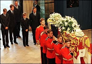 Diana's funeral... entering Westminster Abbey Sept 1997