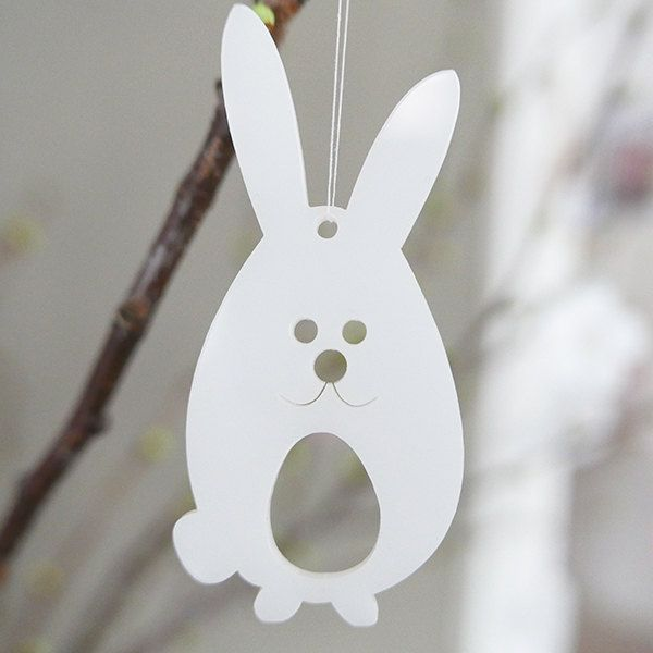 3 Easter bunnies in white plexiglas by Spagat on Etsy