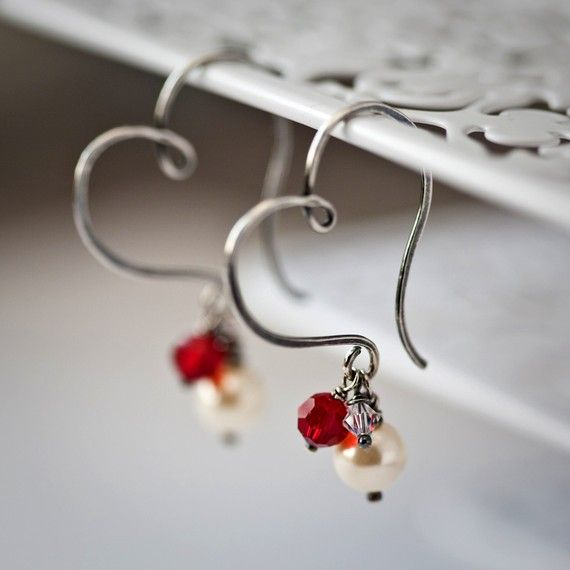 Heart Hoops with Pearl and Crystals Sterling Silver by Mayahelena, $42.00
