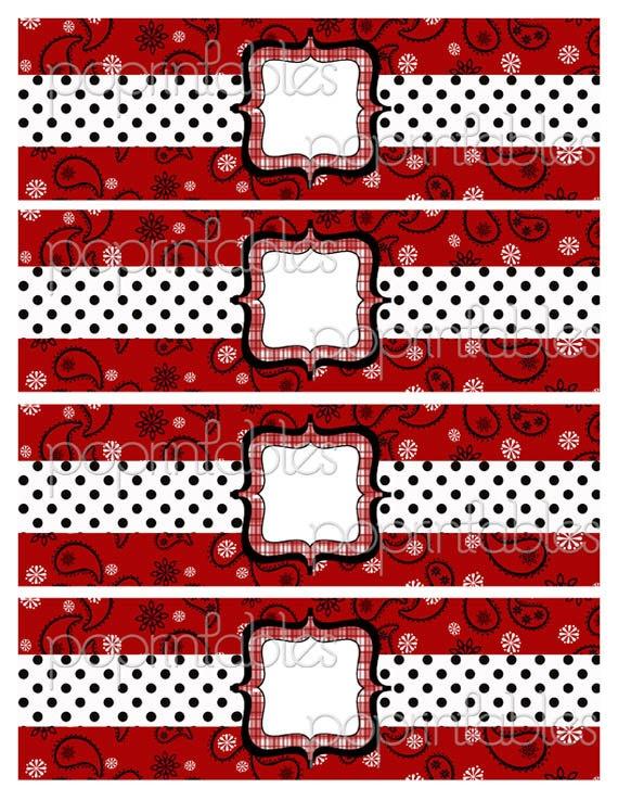 Bandana Western Theme Water Bottle Labels - DIY PARTY PRINTABLE - Bandana Rama Red Collection. $3.50, via Etsy.