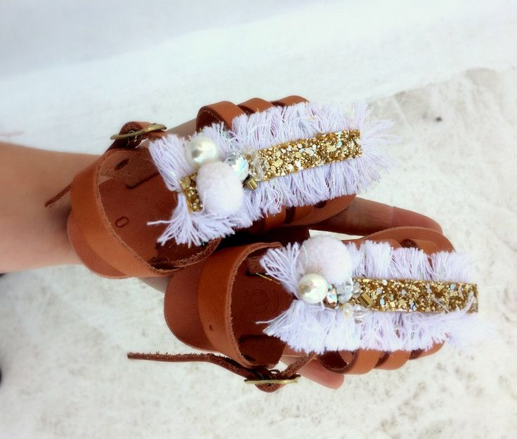baby sandals /baptism shoes girl/white/ leather sandals /pom pom /braidmaids shoe girls /gift for girl/ baby shower gift by aeliasandals on Etsy