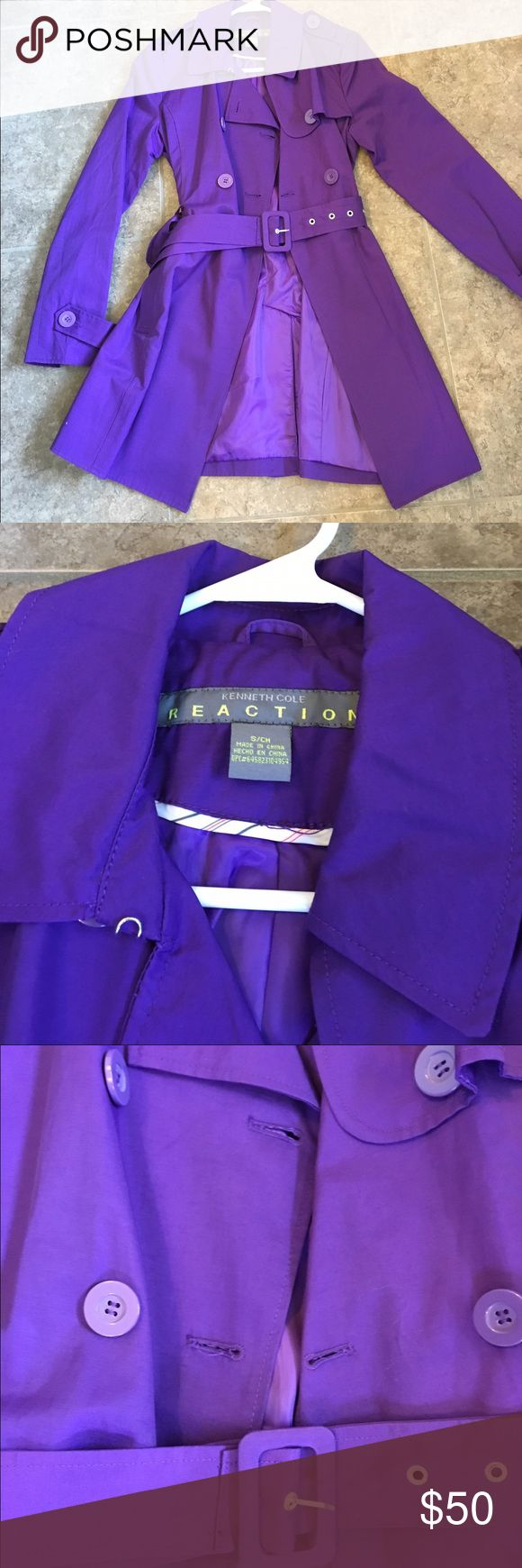 Kenneth Cole reaction purple trench coat Like new! Worn once. Excellent condition. Happy to answer questions. Kenneth Cole Reaction Jackets & Coats Trench Coats