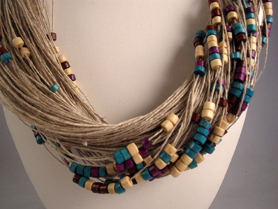 Necklace purple white green linen thread red wood beads knots chocolate metal closure mediterranean style handmade