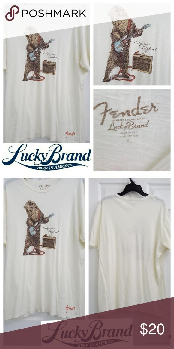 Lucky Brand Mens Fender T-shirt Lucky Brand Fender t-shirt with bear playing guitar and  amplifier on front. Color is off-white or eggshell. Short sleeve. Round neck. Excellent used condition. Lucky Brand Shirts Tees - Short Sleeve