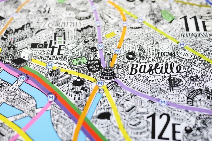 Une carte de Paris dessinée à la main : Jenni Sparks