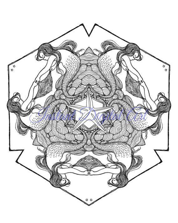 Adult Coloring Page Mermaid Colouring Mandala Advanced