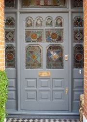Victorian Grandiose style door with real stained glass..