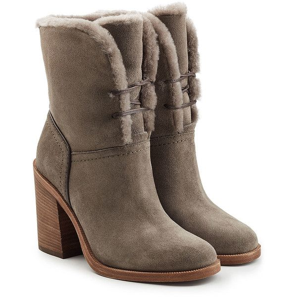UGG Australia Jerene Suede Boots ($280) ❤ liked on Polyvore featuring shoes, boots, grey, grey boots, gray lace up boots, fancy boots, laced boots and grey suede shoes