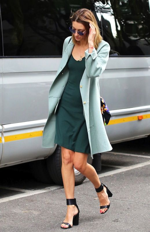 Le Fashion Blog Street Style All Green Look Mint Jacket Dark Dress Black Ankle Strap Heeled Sandals Via NyTimes