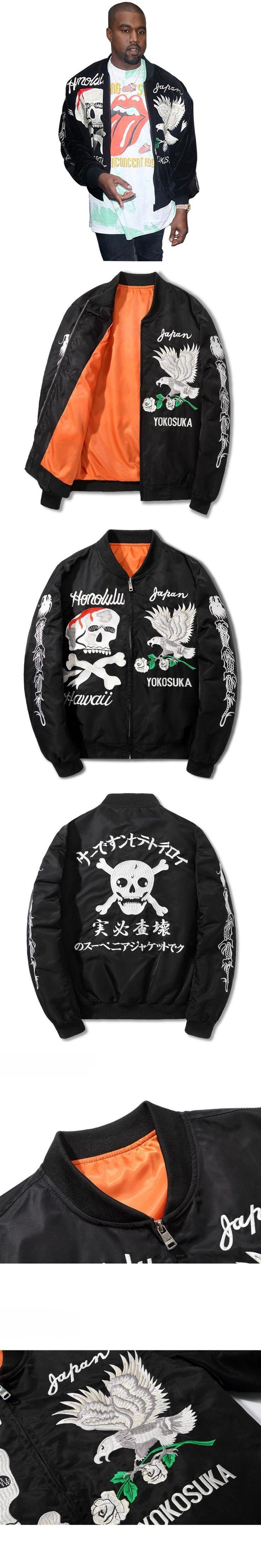 AmberHeard Autumn Winter Kanye West Men Jacket Hip Hop Streetwear Embroidery Ma1 Bomber Jacket Yokosuka Coat Jaquetas Masculino