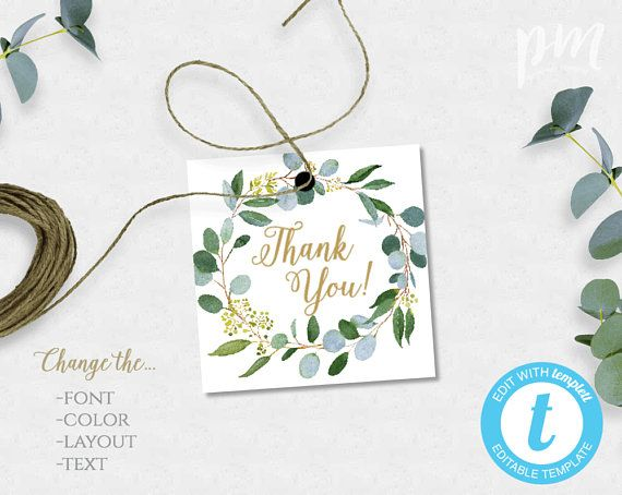 Greenery Favor Tags Template Set Thank You Gift Tags Printable Tags Personalized Thank You Tag Shower Favor Tags Welcome Bag Tag Bsg Favour Tags Template Gift Tags Printable Gift Tag Template