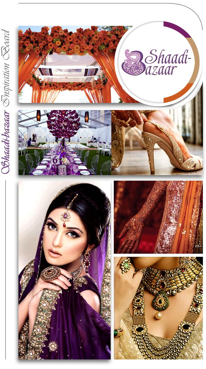 Violet and orange wedding colors, wedding inspiration board, Indian wedding ideas