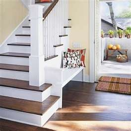 Repurposed wood flooring: Benches Ideas, Front Doors Entrance, Dreams Houses, Wooden Step, Hardwood Floors, Stairs Treads, Built In Benches, Houses Ideas, Stairways