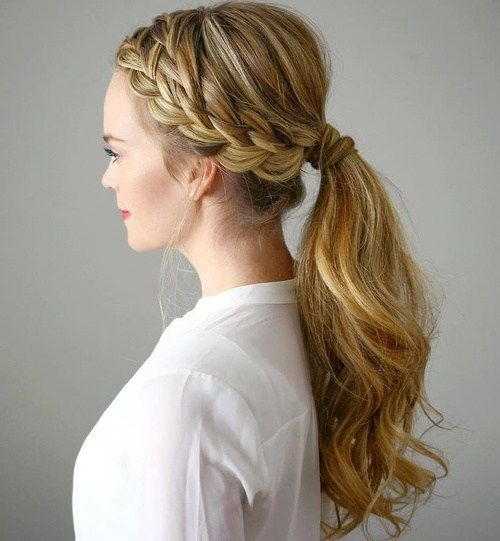 Low Ponytail With A Double Side Braid