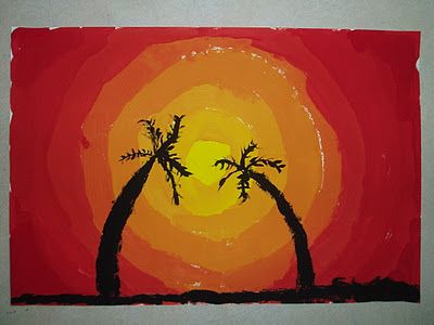 Hawaii Sunset Paintings- mixing yellow and red to get orange