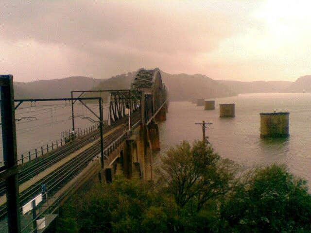 Early morning looking at the Hawkesbury River bridge.