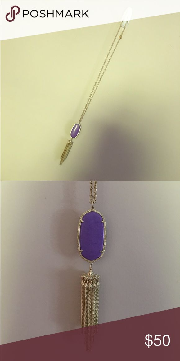 Karen Scott Tassel Rayne Necklace. Gold necklace with purple stone.  Original duster bag will come with it. Karen Scott Jewelry Necklaces