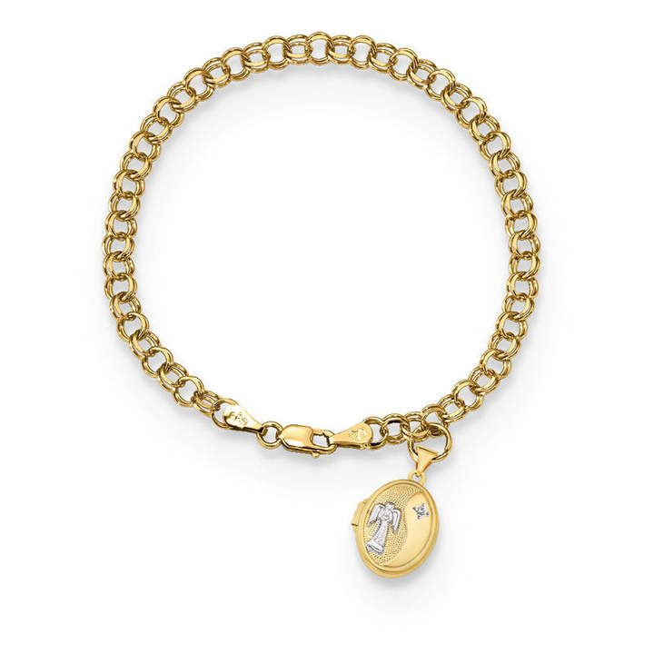 Etched Script Guardian Angel Oval Locket Charm Bracelet in 14K Two-Tone Gold