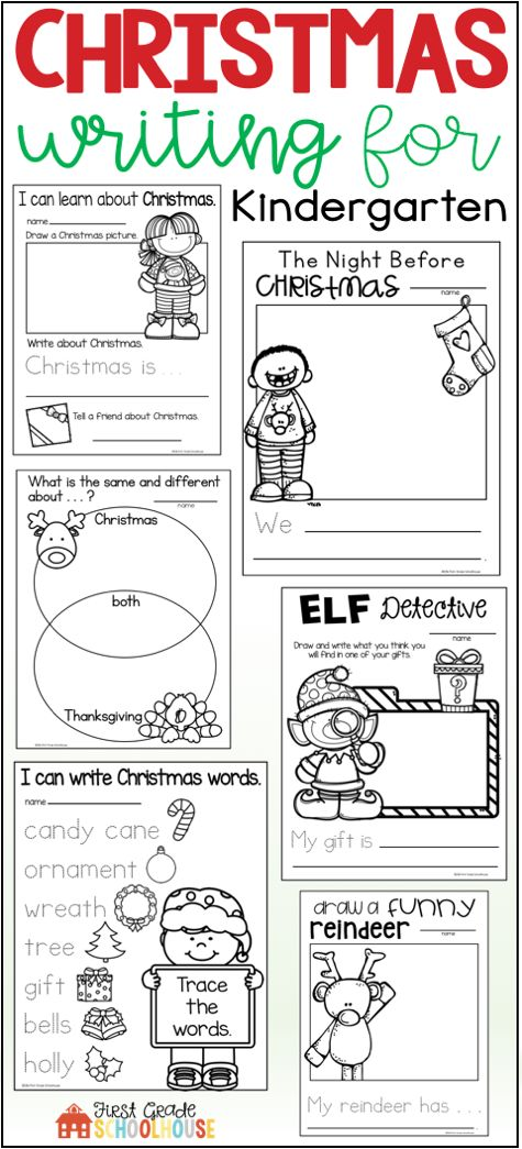 Christmas Writing for Kindergarten is the perfect packet to engage your students in a variety of winter season holiday writing activities and booklets. The Christmas writing topics include Santa Claus, reindeer, elves, family holiday traditions, writing a letter to Santa, sentence writing, response to Christmas literature, and more.
