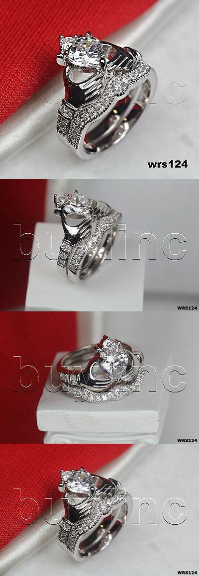 Rings 67681: Irish Claddagh Heart White Sapphire Silver Bridal Wedding Engagement Ring Set -> BUY IT NOW ONLY: $44.45 on eBay!