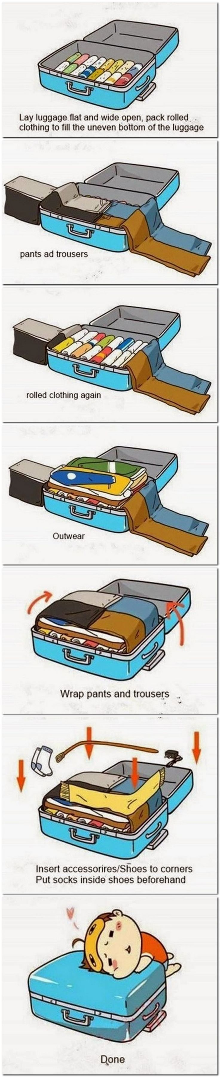 How to pack a suit case to get the very most in less space. Good To Know!