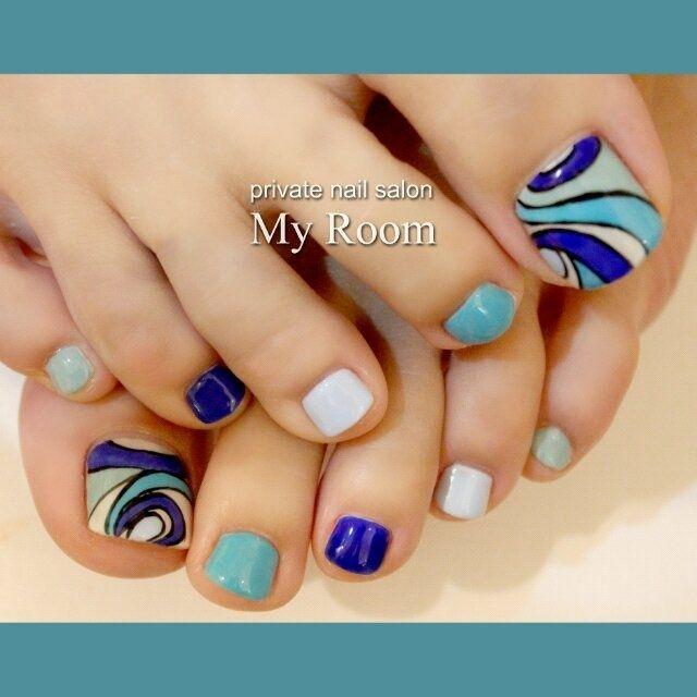 ブルー系のプッチ風フットネイル♪ #my_room #ネイルブック