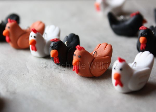 chicken: these are with FIMO but fondant or gumpaste should work.