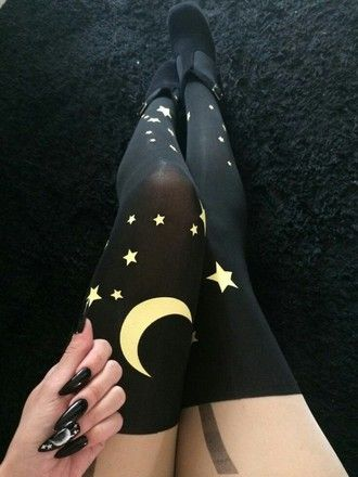 tights black nu goth pastel goth goth da moon witchy witch wicca wiccan