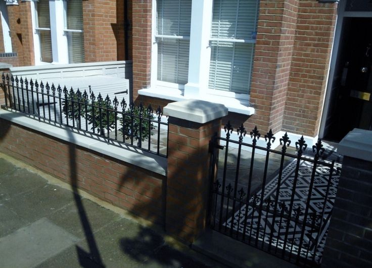 black and white victorian mosaic tile path red brick garden wall wrought iron rail and gate bespoke bin store london (1)