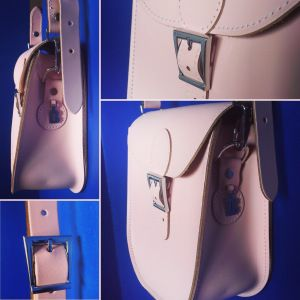 Pastel pink BritStitch leather satchel.