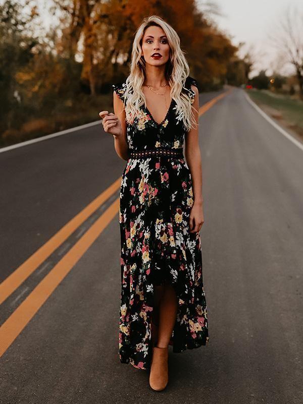 Floral Print V Neck Sleeveless High Waist Irregular Maxi Dress 2