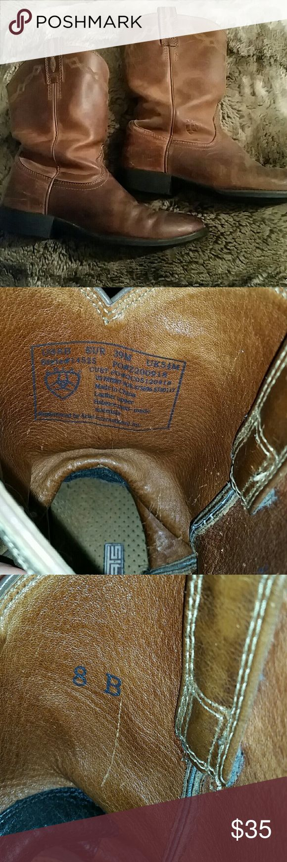 Ariat work boots Brown Ariat work boots. Worn but still have a lot of life left. Bottoms in great condition. Size says 8B...I wear 8 or 8.5 women's shoes. Great thread detail. Ariat Shoes Combat & Moto Boots