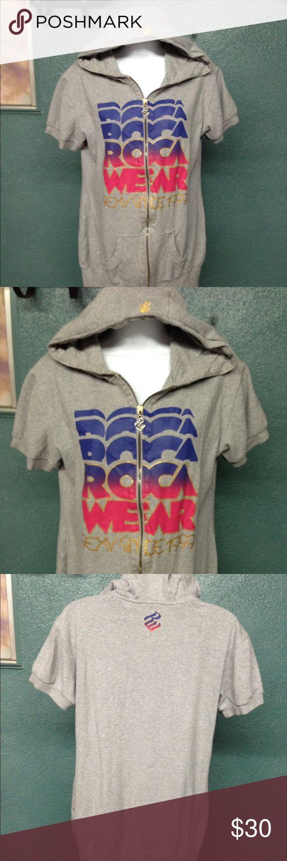 Rocawear Short Sleeve Hoodie! XL Rocawear short sleeve hooded sweatshirt. Sweatshirt is in great condition and is true to size. Sweatshirt is light gray. Rocawear Tops Sweatshirts & Hoodies