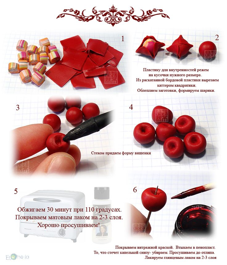 Sweet Cherries Tutorial for Fimo or Polymer Clay (works with fondant or sugar paste too)