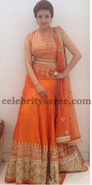 Saree Blouse Patterns: Kajal in Silk Designer Lehenga